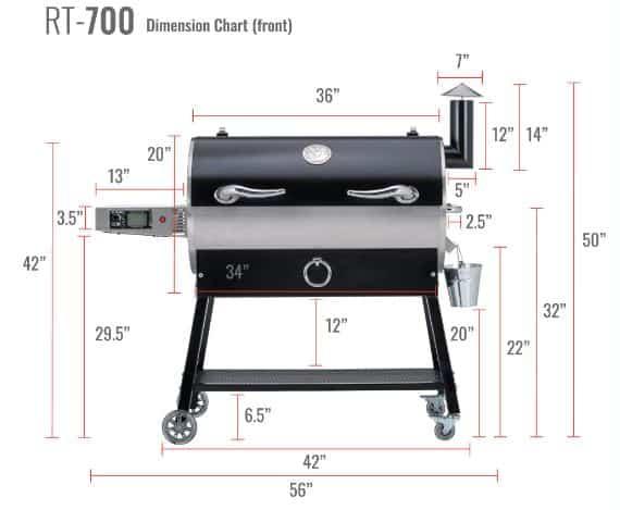 REC TEC RT-700 Wood Pellet Grill Dimensions