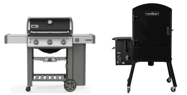 Gas Grill and a Vertical Pellet Smoker